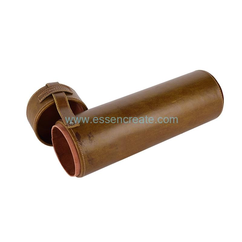 Wine Bottle Packaging Leather Tube Cylinder Box