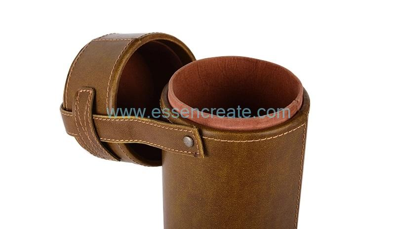 Cylinder Wine Leather Box with Handle