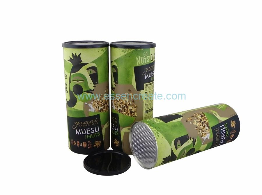 Muesli Nuts Packaging Paper Canister Round Composite Tube