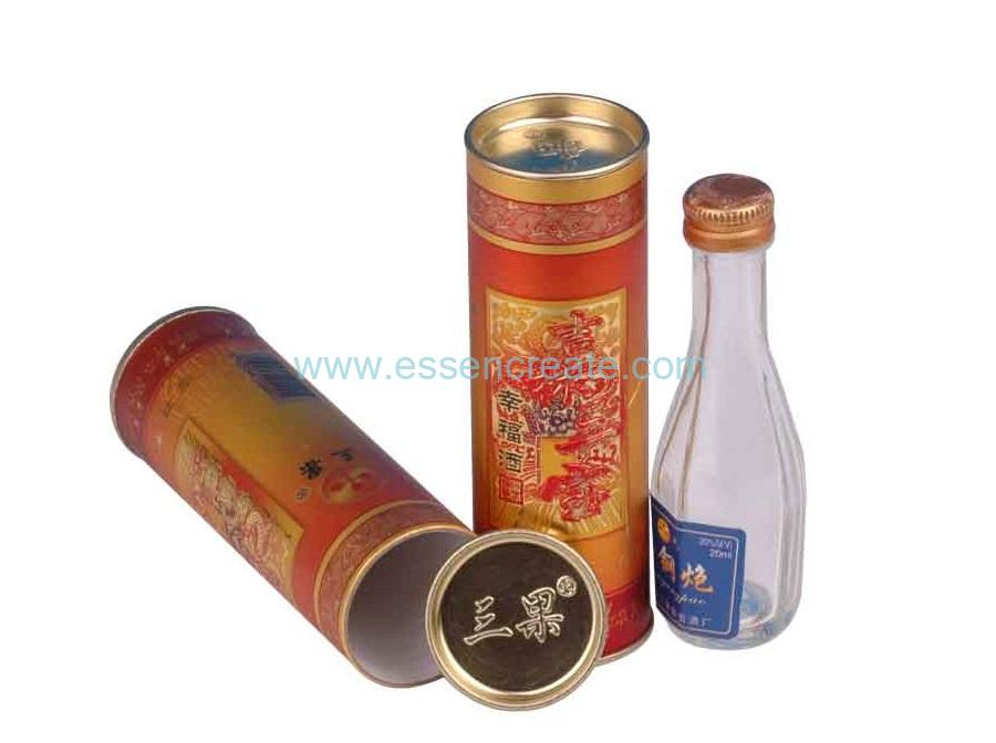 Sealed Metal Glass Wine Bottle Packaging Paper Tube