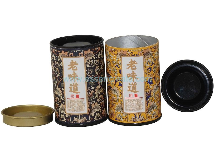 Small Tea Packaging Paper Tube with Tin Cover