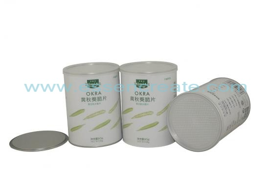 okra canister packaging tube en papier composite